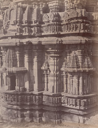 Close view of base of façade of shikara of the Siddeshvara Temple, Haveri, showing moulding and sculptural detail.